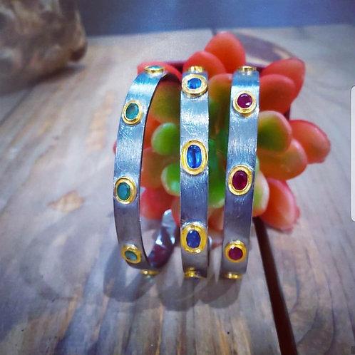 Choice of Kyanite, Emerald or Ruby Bezel Set Silver Cuffs with 24k Vermeil Bezel