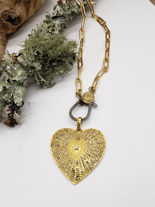Diamond 24k Vermeil Heart Pendant AND/OR 14K GF Paper Clip Chain with Two