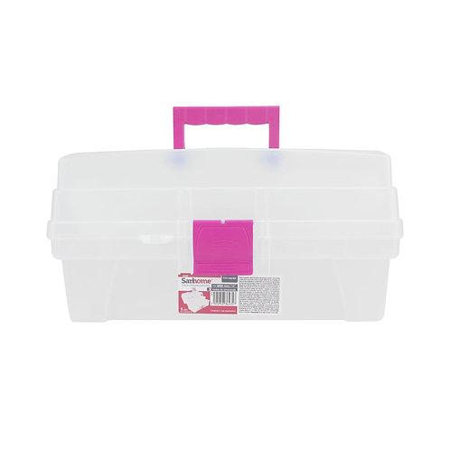 Caja Vanity Multiusos Transparente/Rosa (6402)