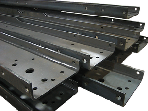 Stack of easy-bolt frames with holes
