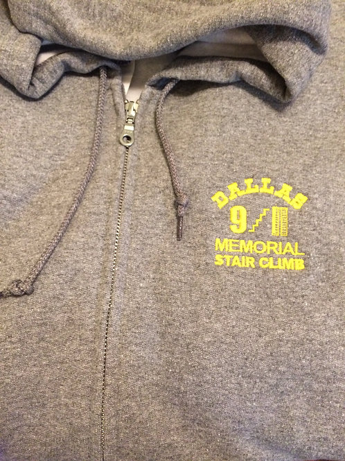 Zip Embroidered Grey Fleece Hoodie