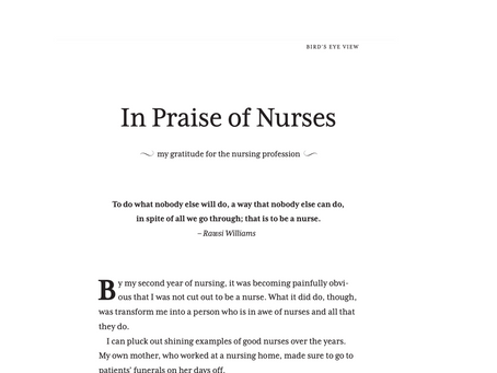 In Praise of Nurses