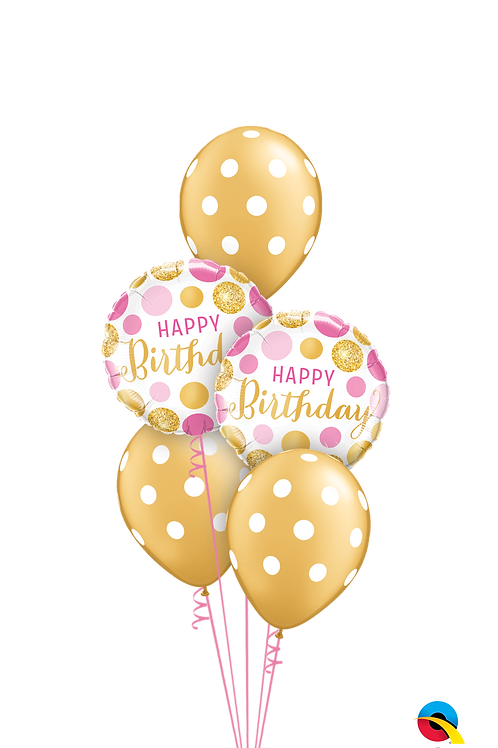 Pink & Gold Polka Dot Birthday Balloon Bouquet