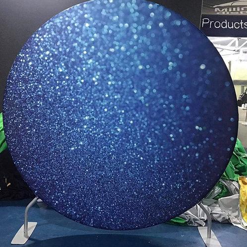 Sparkle Blue Design Circle Backdrop Hire