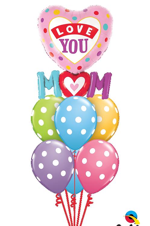Love You Mum Polka Dot Balloon Bouquet
