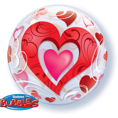 Red Hearts and Filigree Balloon in a Box Surprise