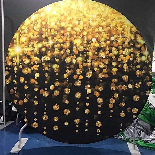 Gold/Black Design Circle Backdrop Hire