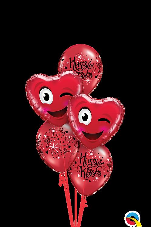 Smiley Wink Heart Balloon Bouquet