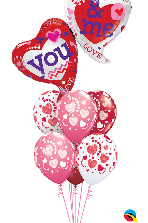 You and Me Heart Helium Balloon Bouquet