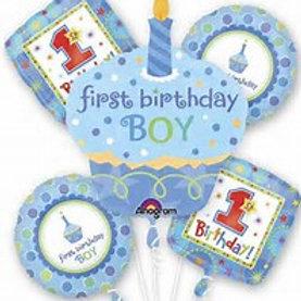 1st Birthday Boy Cupcake Balloon Bouquet
