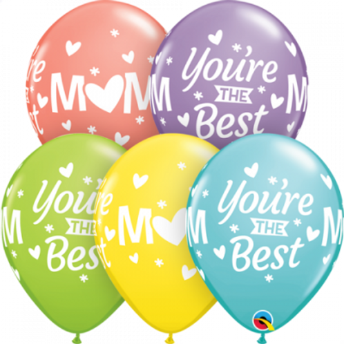 20 x You're the Best Mum Latex Balloons - Helium Filled