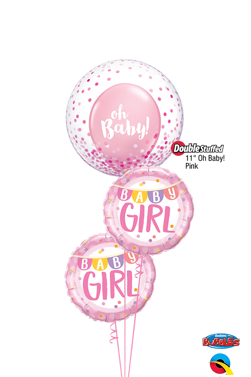 """""""Oh Baby"""" Pink Confetti Balloon Bouquet"""