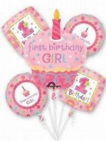 1st Birthday Girl Cupcake Balloon Bouquet