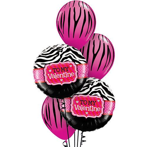 Pink Zebra Valentine Balloon Boquet