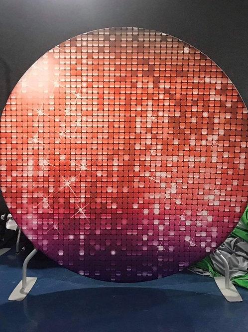 Red Disco Design Circle Backdrop Hire