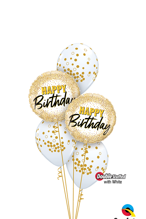 Glittering and Glimmering Gold Birthday Balloon Bouquet