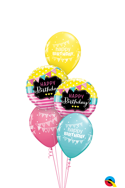 Birthday Pennants and Stripes Balloon Bouquets
