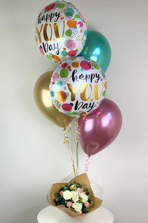 Happy You Day Balloon Bouquet & Flowers
