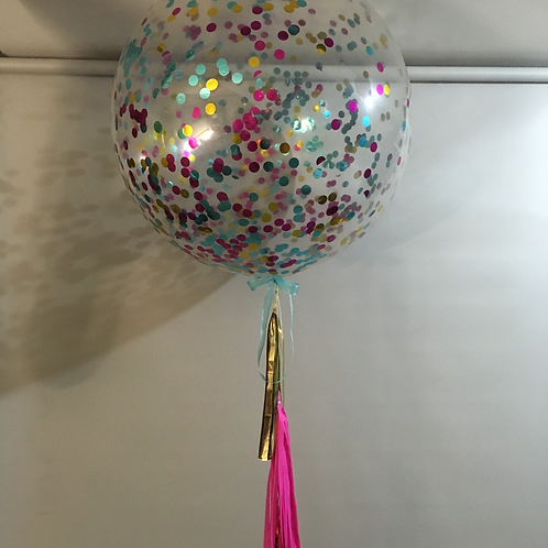 Jumbo Confetti Balloons with tassels to the floor.