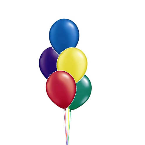 Bunch of 5 Helium Balloons - Table or Floor Display