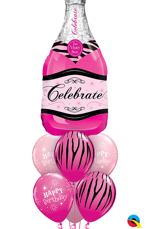 Pink Champagne Birthday Balloon Bouquet
