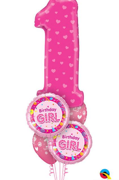 1st Birthday Pink Balloon Bouquet