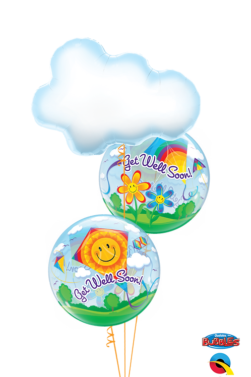 Get Well Clouds and Kites Balloon Bouquet