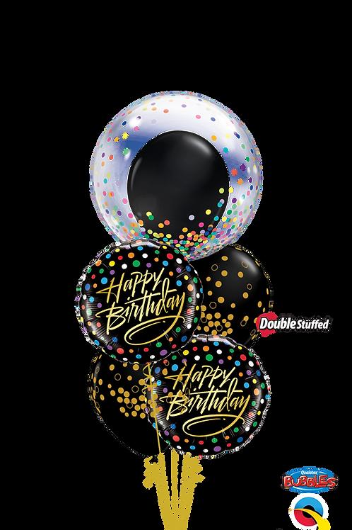 Birthday Black & Gold Confetti Balloon Bouquet