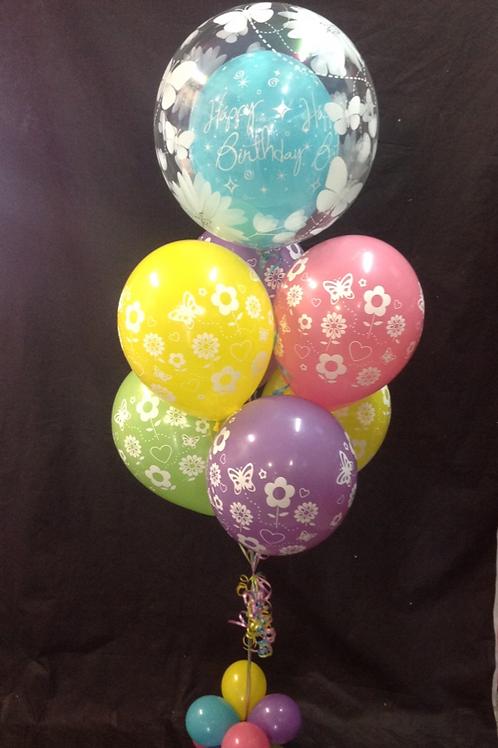 Happy Birthday Spring Flowers Balloon Bouquet