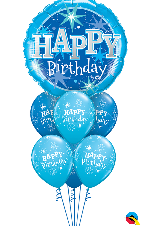 Pink or Blue Jumbo Stars Birthday Balloon Bouquet