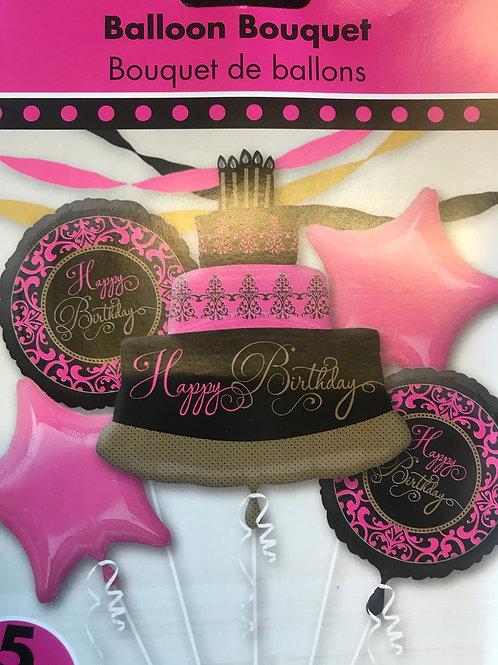 Pink & Gold Cake Balloon Bouquet