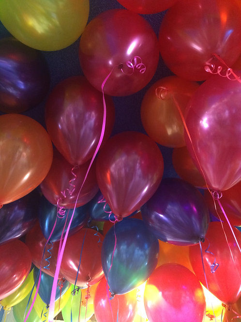 75 Helium Filled Balloons on Ribbon