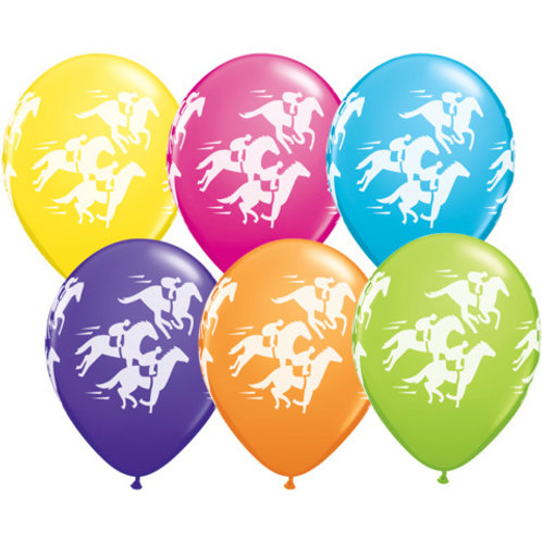 25 Horse Racing Balloons on Ribbon