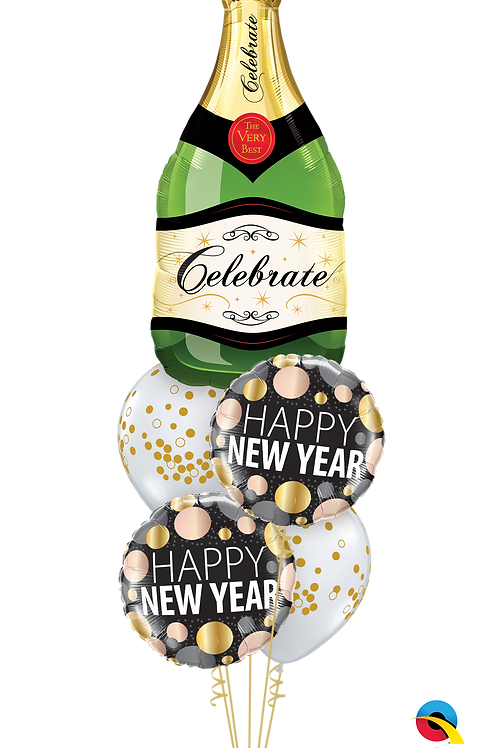 Happy New Year Champagne Balloon Bouquet