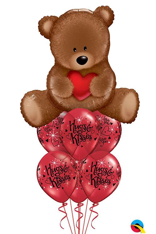 Hugs & Kisses Teddy Bear Balloon Bouquet
