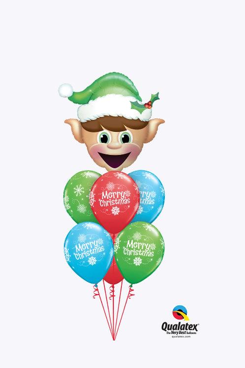 Happy Elf Christmas Balloon Bouquet