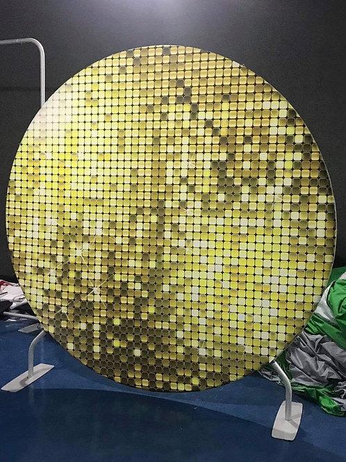 Gold Design Circle Backdrop Hire