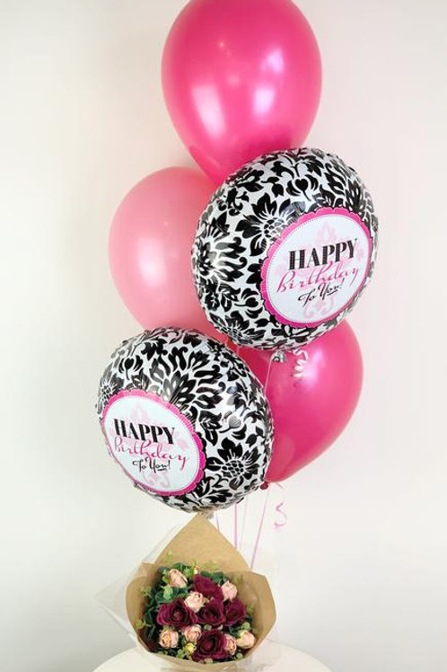 Birthday Balloon Bouquet with Flowers