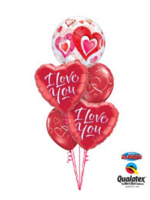 I love you Bubble Heart Balloon Bouquet