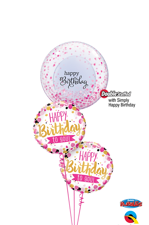 Pink Dots Happy Birthday Balloon Bouquet