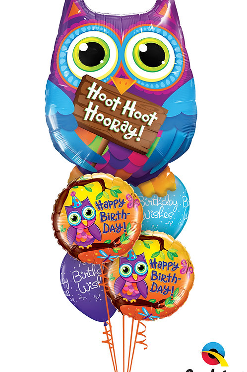Hoot Hoot Hooray Birthday Balloon Bouquet