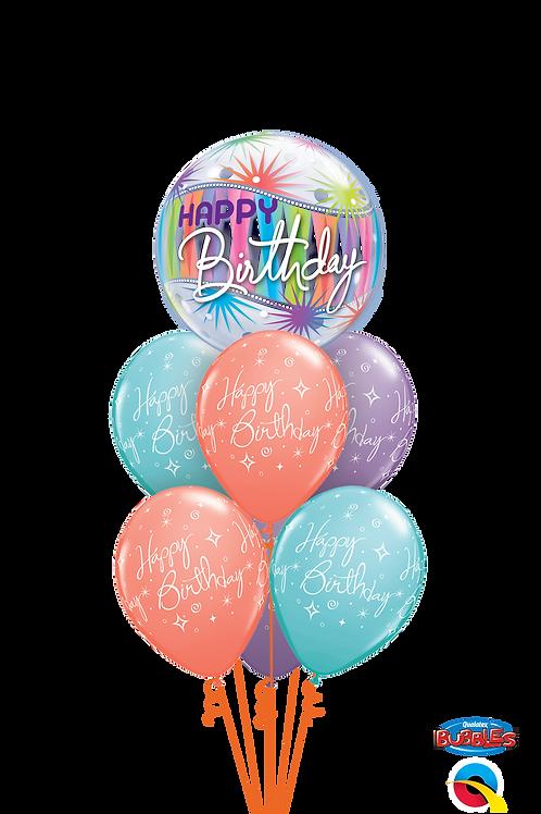 Happy Birthday Pastel Surprise Balloon Bouquet