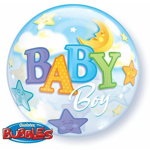 Baby Boy Bubble Balloon in a Box Surprise