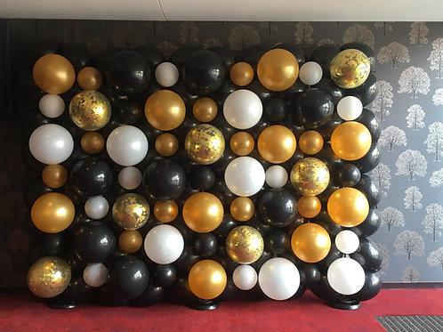 Gold, Black and White Balloon Wall