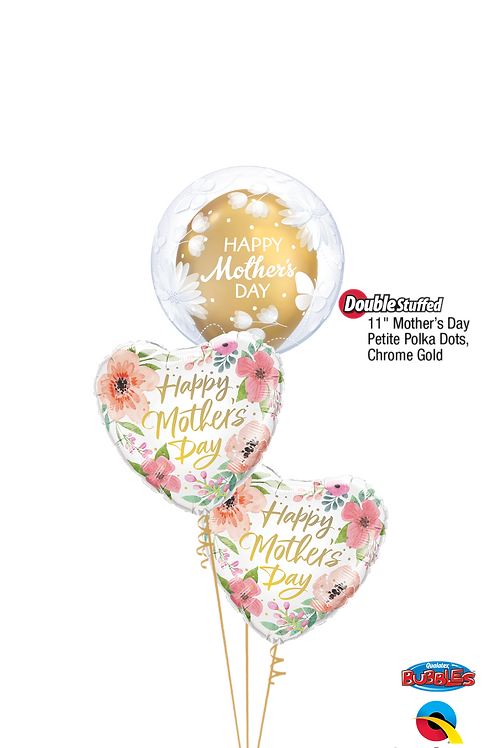 Pink & Gold Mother's Day Flower Bubble Balloon Bouquet