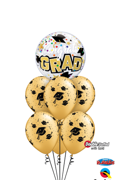 Congrats Grad Golden Caps Balloon Bouquet