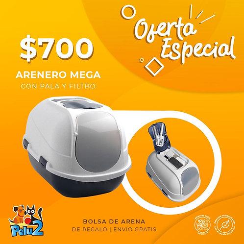 Arenero Cubierto Mega (con filtro, tapa y pala) + (costal de arena gratis)