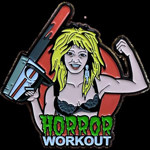 Linnea Quigley's Horror Workout enamel pin