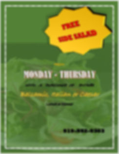 monday thursday free side salad lunch di