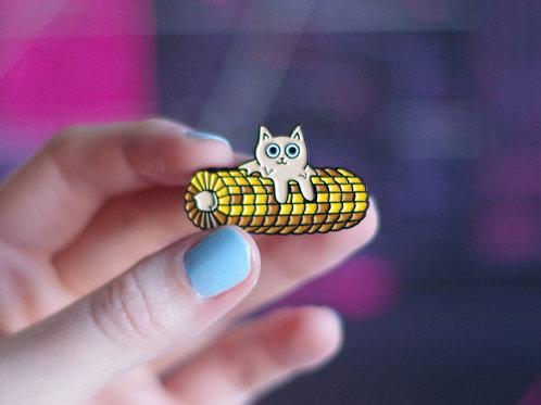 Butter Cat Enamel Pin - Corn Variant